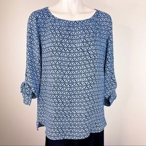 ANN TAYLOR LOFT woven top adjustable sleeves S